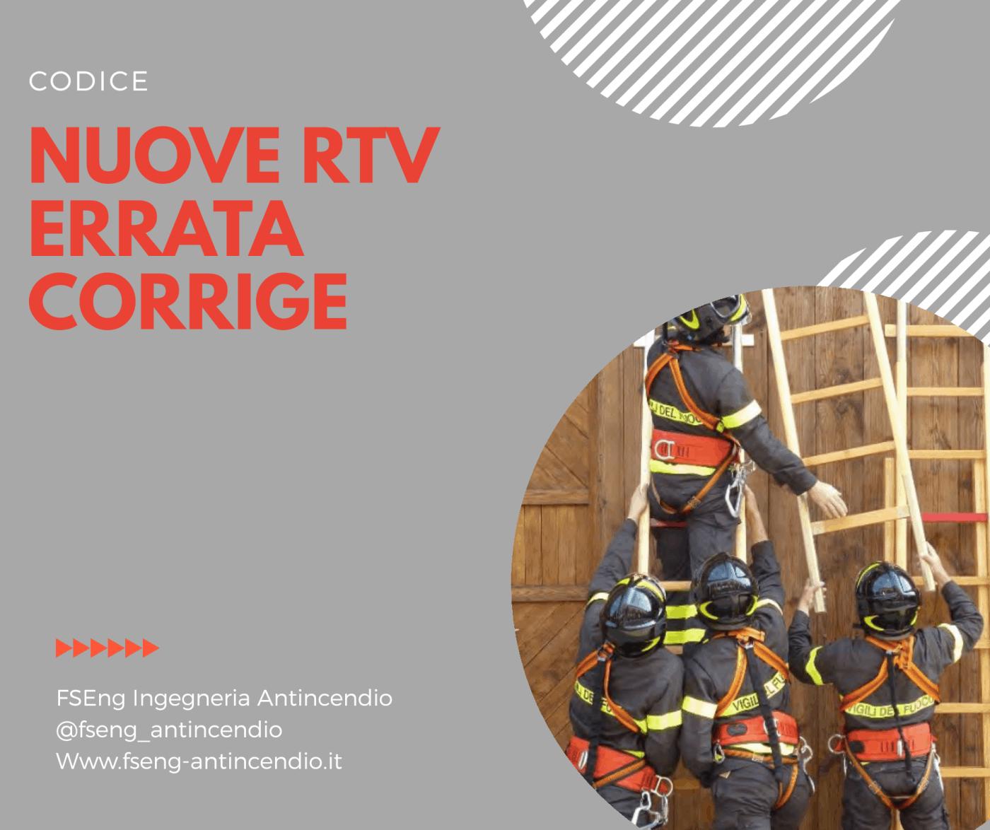 Aggiornamento RTV in vigore: errata corrige. DM 06.04.2020